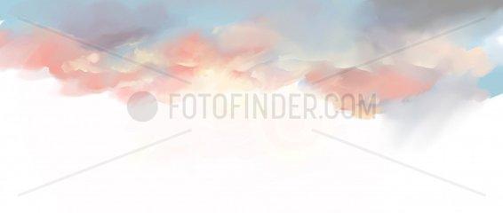 WOLKEN Himmel Abendrot Hintergrund