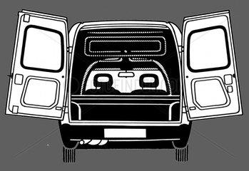 Auto mit offenen Hecktueren Technik