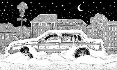 Eingeschneiter Volvo Auto