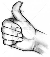 Serie Handzeichen Mann Daumen hoch Erfolg wuenschen