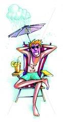 Serie Ferien Mann unbestaendiges Wetter Urlaubsfreude