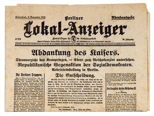 Abdankung von Kaiser Wilhelm II.  9. November 1918