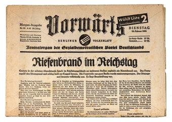 Reichstagsbrand  Ausgabe des Vorwaerts vom 28. Februar 1933