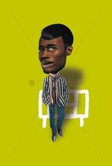 Serie witzige Portraits People dunkelhaeutiger Mann Stil Collage Typ