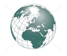 Weltkugel Europa Afrika Asien Nordpol