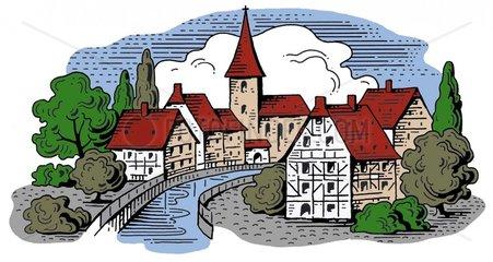 Typisches deutsches Dorf Fluss Kirche Fachwerkhaeuser Logo freigestellt