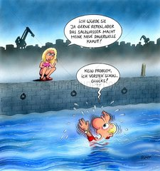 Blondine Hafen Ertrinken