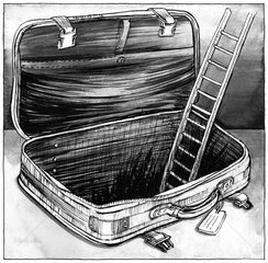 Koffer leer Leiter aussteigen s/w