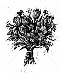 Blumenstrauss Fruehlingsstrauss Tulpen s/w Linolschnitt