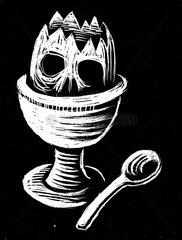 Fruehstuecksei Horror Linolschnitt Totenkopf toedlich Pestizide