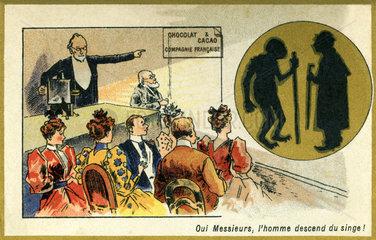 Vortrag zur Evolutionstheorie  der Mensch stammt vom Affen ab  Illustration  Frankreich  1899