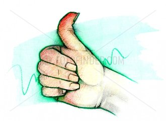 Serie Handzeichen Daumen nach oben Erfolg Wunsch