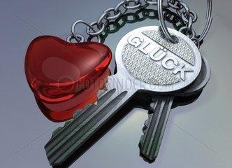 Schluessel zum Glueck Liebe Herz Anhaenger