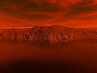 Landschaft 1 Sonnenuntergang Berge blutroter Himmel