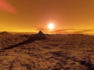 Landschaft 3 Sonnenuntergang Steppe Wueste trostlos einsam