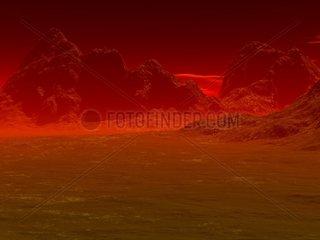 Landschaft 5 Sonnenuntergang Berge blutroter Himmel