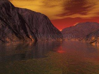 Landschaft 4 Sonnenuntergang Schlucht Gebirge
