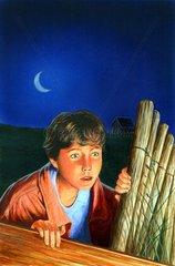 Ueberraschung Schreck Neugierde Junge Nacht Mond Krimi Literatur Cover