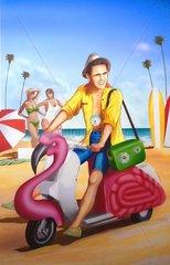 Beach junger Mann Palmenstrand Vespa Fantasie Popart Cover