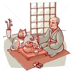 Glueckskatze und japanischer Moench Szene Serie