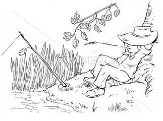 Angler am Teich Junge Kinderbuchillustration s/w Serie