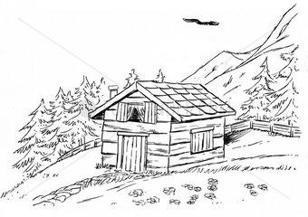 Berghuette Hang Alpen Berge s/w Serie