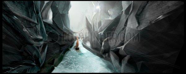 gefaehrliche Segeltour durch steinerne Schlucht