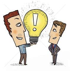 Idee Investition Innovation Gluehbirne Maenner Ausrufezeichen Symbol
