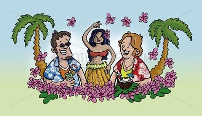 Beachparty Hawaii Urlaub Einheimische Maenner Freude