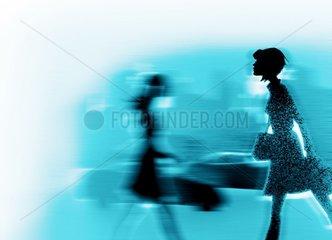 Hektik Stress Geschwindigkeit Fussgaengerinnen Auto blau