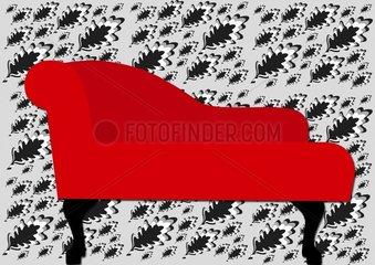 Rote Recamiere  Hintergrund grau schwarz weiss