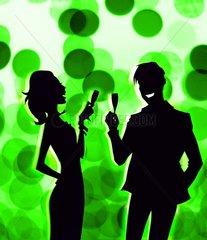 Flirt Party Heiterkeit Sektempfang Champagner Paar