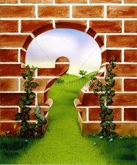 Serie Fragezeichen Mauer Freiheit Landschaft