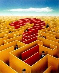 Serie Fragezeichen Labyrinth Geschaeftsmaenner verlaufen