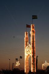 Pilas  Spanien  geschmueckter Torbogen beim Sommervolksfest