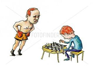Kampf Boxen Boxer Schach Schachspieler Macho Softy Intelligenz