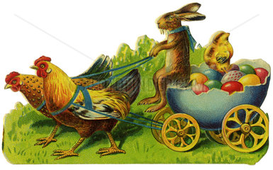 Huehner ziehen Wagen mit Ostereiern  Osterhase  Poesiebild  1910