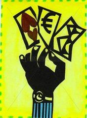 Glueckskarten Herzkarte EURO Hand hochheben
