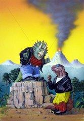 Comic Rocker Tiere Vulkan Fantasy