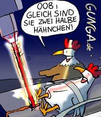 GUNGA Comic Huehnerserie Halbe Haehnchen