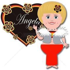 Angela Merkel Herz Namenszug Comicfigur Lebkuchen deutsch Deutschland Germa
