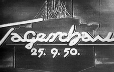 erstes Tagesschau-Logo im Versuchsprogramm des NWDR  1950