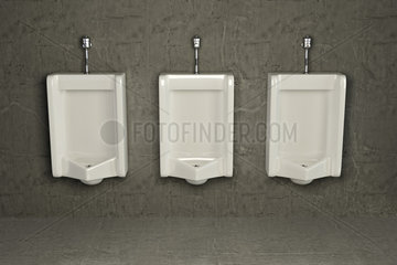 Urinals on dirty wall. Abstract background. 3d