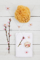 Cherry blossom soap ball on towel with natural sponge