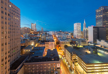 USA  California  San Francisco  Chinatown  Financial District  Coit Tower in the evening