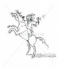 Indianer mit Pferd steigend