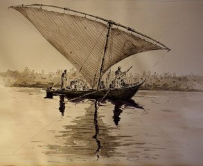 Boot Afrika Aegypten Rudern Segeln Nil