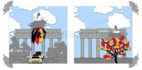 Mauerfall Wiedervereinigung Deutschland Brandenburger Tor Politik Trabant