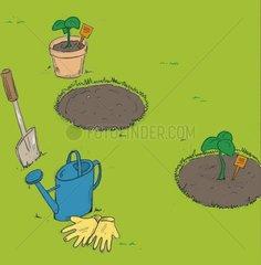 Anpflanzen Giesskanne