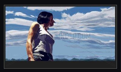 Frau mit Blick in den Himmel